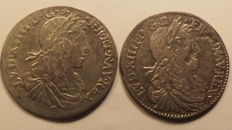France - 2 1/12 ecu coins bust of young Louis XIV 1664 B (ROUEN) and 1660 D (LYON) - silver