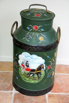 Large rare traditional Frisian horse hand-painted milk churn.