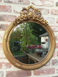 Gold-plated round mirror with bow - Louis Seize style