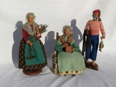 Three beautiful authentic Santon figurines _ Nativity scene figurines __ Chave Aubagne
