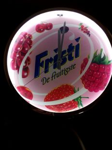 Fristi Clock red fruit - with light - Neon wall clock - Model #500