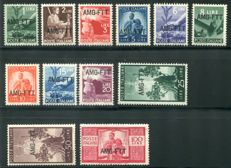 Trieste A - AMG-FTT 'Democratica' complete series of 12 stamps - Sass.  N°  56/57
