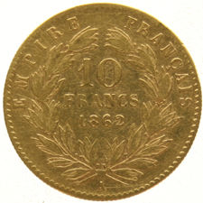 France – 10 Francs 1862 A Napoleon III – gold