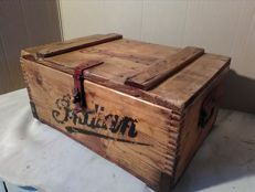 Old garage tool chest with Indian Motorcycles prints - 20th century