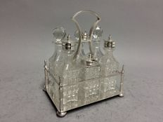 Crystal oil and vinegar set in silver plated mounting, Walker & Hall, Sheffield, England, ca. 1900