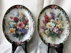 Lena Liu for Bradford Exchange,  2 oval collector plates, limited edition