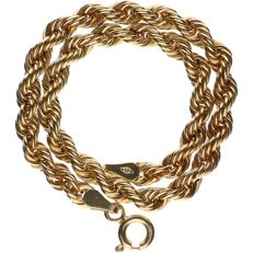 14 kt Yellow gold, twisted rope link bracelet - Length 19.5 cm