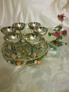 Wonderful set of stemmed ice cream bowls with gilded decorations and tray
