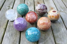 Collection of mineral spheres - 5.3 to 6.0 cm - 2.24 kg (8)