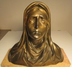 sculpture bust of the Virgin Mary gold metal signed Ruffony 3,650 kg