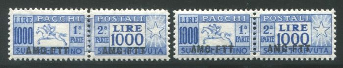 Trieste A 1954 -- Parcel post 1000 lire and 2 'cavallini' (ponies) -- Sass. n. 26/26I