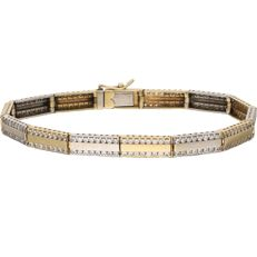 14 kt - Bi-colour link bracelet with zirconia stones, Length: 19 cm