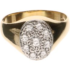 18 kt Yellow gold ring set with 9 diamonds - Ring size: 18 mm