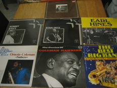 Big lot of 7 jazz/blues Albums,some very rare albums like: Earl Hines, Coleman Hawkins, James P Johnson, Stan Getz, Sonny Sit,etc,etc