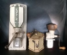 2 rare Vintage French Peugeot coffee grinders. Industrial metal kitchen Decor coffee grinders and 1 PeDe coffee grinder