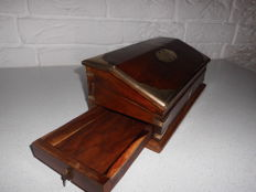 Beautiful (rosewood?) pen box with beautiful brass mounts, with secret drawer, nice exclusive item