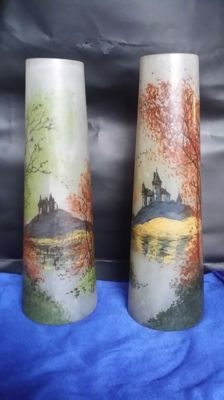 Legras - A pair of vases with enamel decor