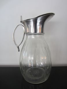 Large glass decanter with silver plated frame