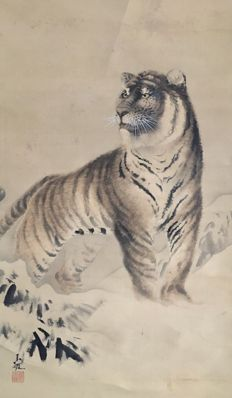 Detailed antique hanging scroll 'Tiger in winterlandscape', signed and sealed - Japan - ca. 1920