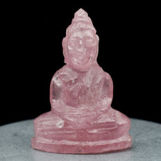 Buddha Carving Natural Pinkish Red Ruby, Mozambique - 23.2 x 16.7 x 9.6 mm - 23.36 ct