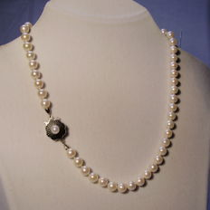 White pearl necklace made of genuine Japanese Akoya pearls, high quality, 14 kt white gold clasp