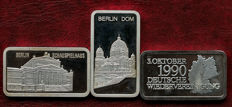 Three 1 troy ounce silver ingots Degussa - with German scenes