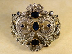 Antique Victorian Belle Epoque 14 ct. gold and silver brooch or pendant necklace set with 4 ct sapphires and 1 ct diamonds France late 19th century