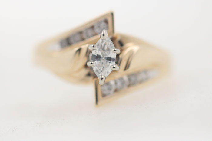 Marquise Diamond Ring of 585 Gold with 0.60 Ct - Gr. 47