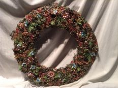 Handmade Christmas wreath with silk and organza