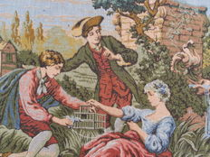Beautiful vintage pictorial tapestry , second half of the 20th century, France 51 cm x 100 cm,