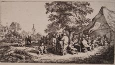 "Adriaen Van Ostade ( 1610-1685) "" The Fair under the great tree"" Etching Circa 1660"