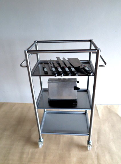 Kitchen Etagere Stainless Steel On Wheels, 77 Cm High, Set Solingen  Stainless Steel Kitchen