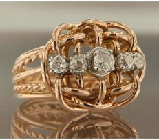 18 kt bicolour gold ring set with 5 Bolshevik cut diamonds, ring size: 17 (53)