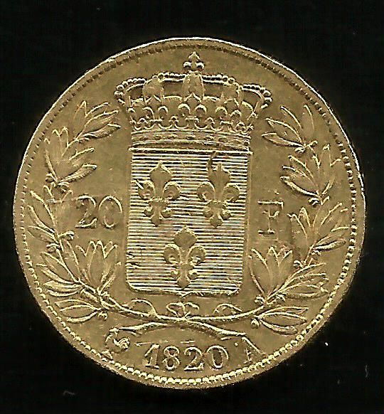 France - 20 Francs 1820 A (Paris) Louis XVIII - Gold
