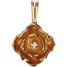 14 kt Yellow gold pendant in the shape of a flower set with a diamond of approx. 0.005 ct - length x width: 1.6 x 1 cm