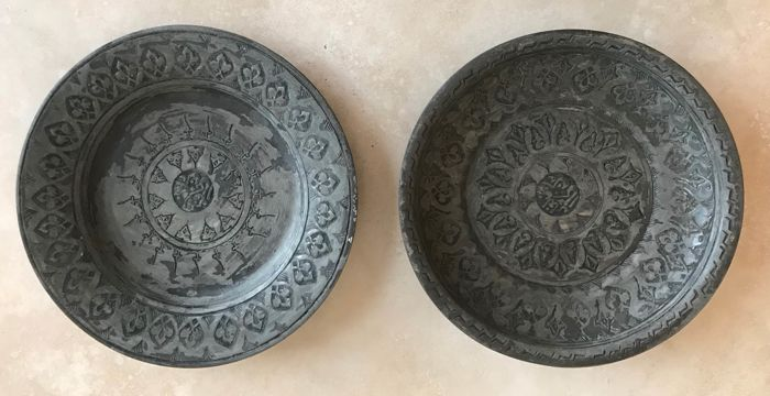 Two red copper plates with tin plating - Central Asia - early 20th century