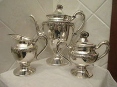 Lehman Brothers New York (LBNY) Silver Copper – Tea set, 3 pieces, silver plated.