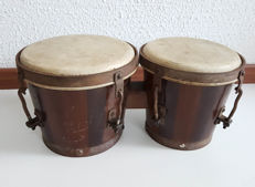 Vintage pair of hand made bongo's
