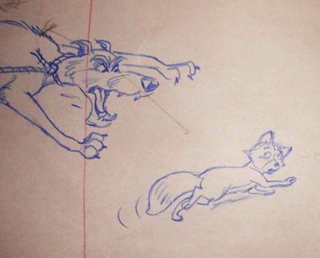Disney Studios - Large Original Layout Drawing - 4x Chief and 1x Tod - The Fox and the Hound (1981)
