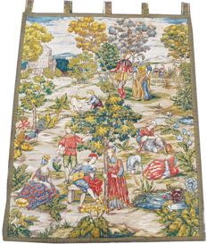 Beautiful vintage pictorial tapestry , second half of the 20th century, France 97 cm x 78 cm,
