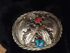 Native american navajo silver  buckle with turquoise and coral stones