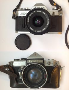 Canon AE-1 and Petriflex cameras, from the 1960s and 1970s