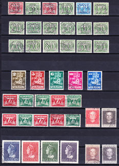 """The Netherlands 1940/1946 - Small collection, including Guilloche, Wilhelmina """"Konijnenburg"""" and Churches in wartime"""