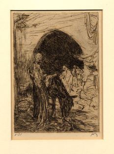 Two etchings by Marius Bauer (1867 - 1932) - Ezeldrijver and Sprookje