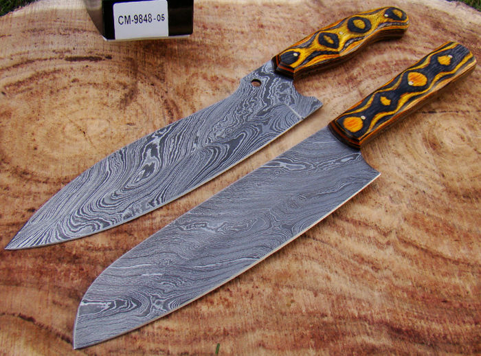 Set Of 2 Handmade Damascus Steel Kitchen Knife Chefu0027s Knives