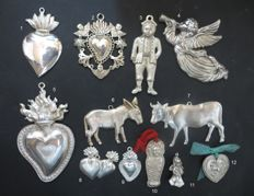 Lot - 12 old ex voto - votive offerings - 3 to 30 years old