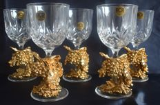 Crystal cut R.C.R.. glass 5 pieces with gold -coloured plastic decoration.