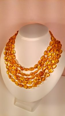 Extra long  Baltic amber necklace, length 220 cm, 48 grams