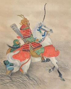 'Hunting Samurai' by Hosei 鳳聲 Original hand painted scroll painting on cloth - Japan - ca. 1900