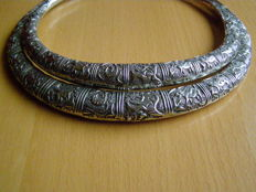 Set of two silver torques or necklaces - Hmong Miao - Golden triangle - China - 2nd half 20th century